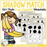 Shadow Matching Fruit & Vegetable Cut & Paste Worksheets ~Digital Download~